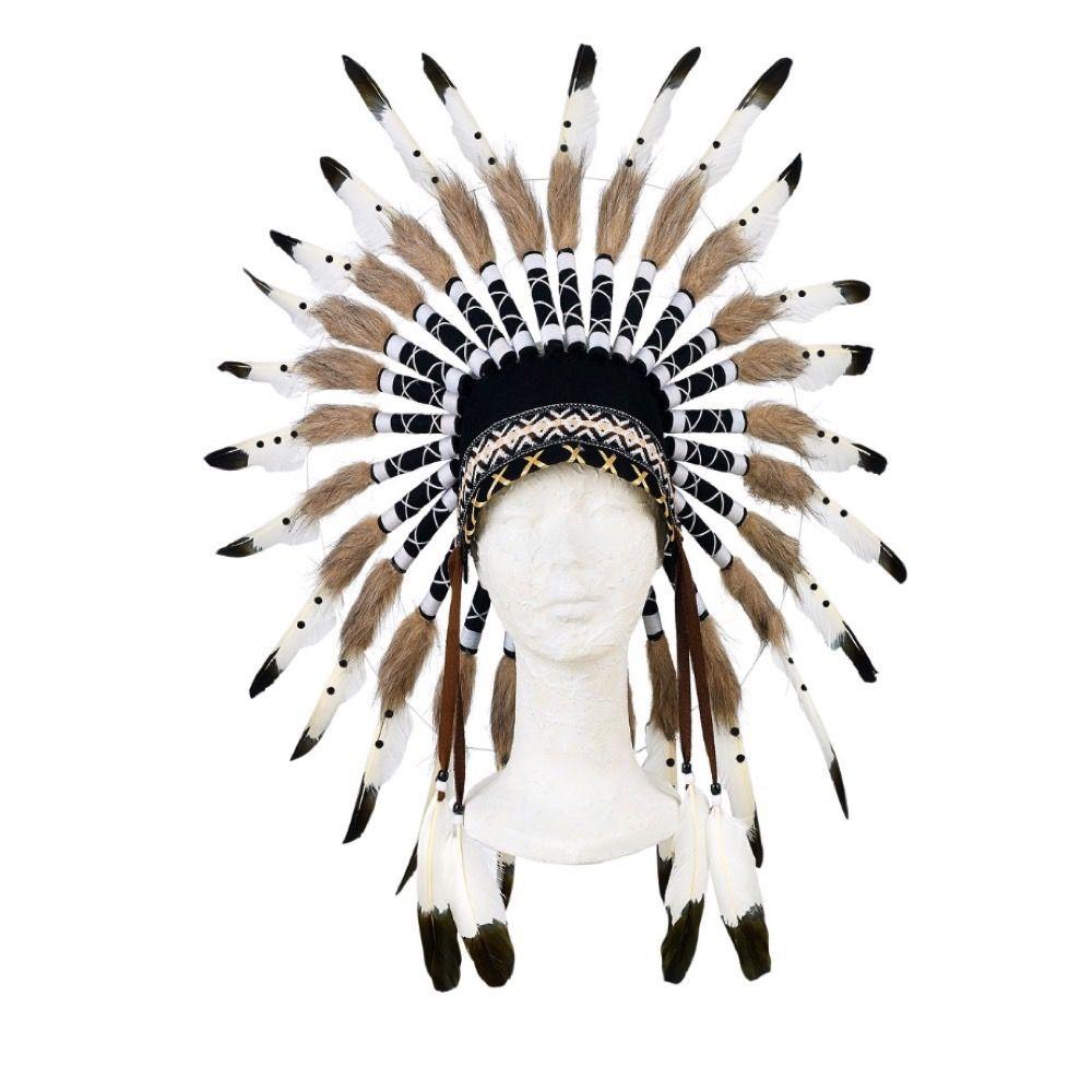 Indianer Hovedbeklædning - Sort/hvid - Høvding