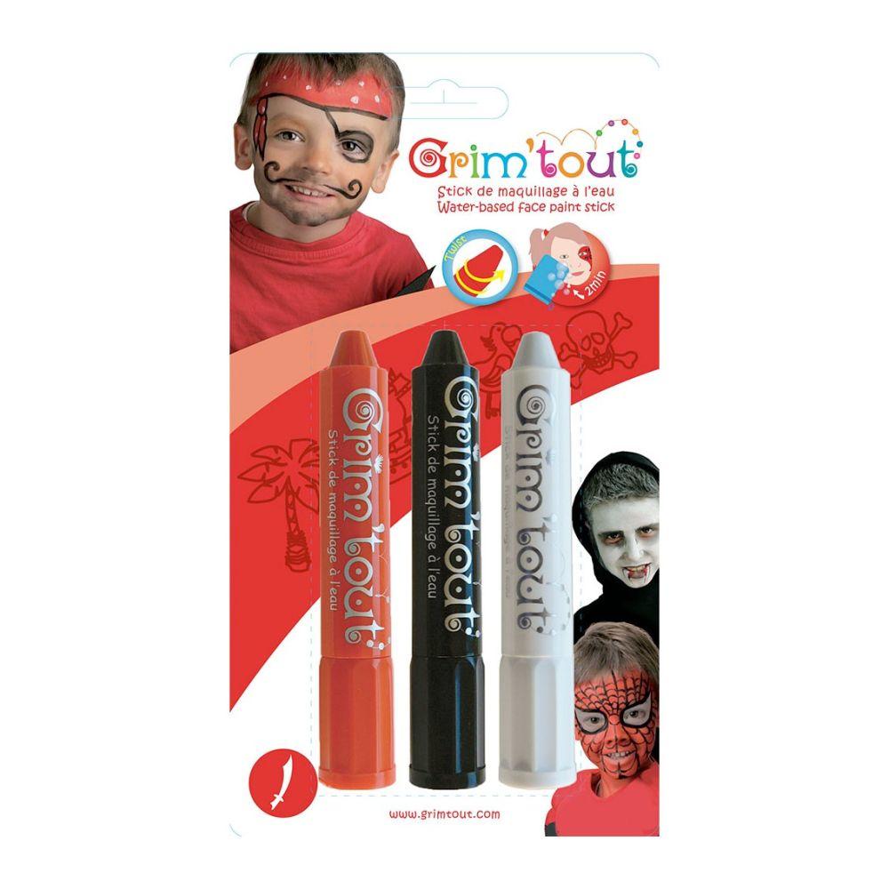 ansigtsfarver 3 stick rød, hvis og sort Grim tout