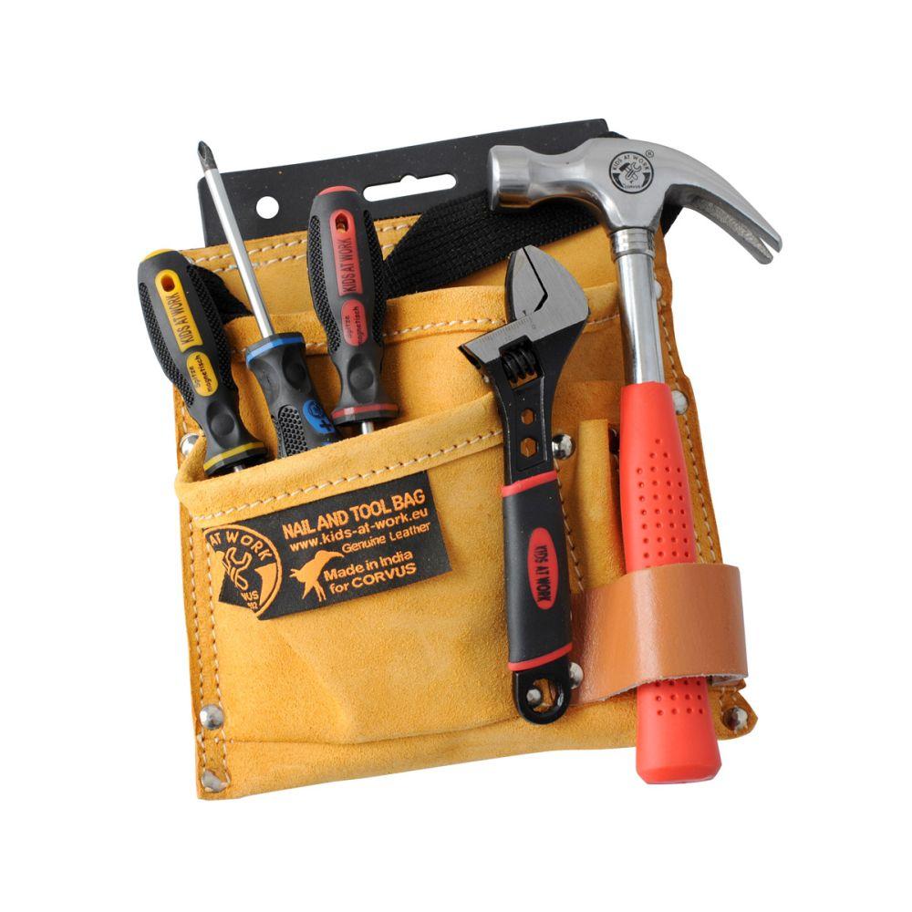 Værktøjsbælte med værktøj til børn fra Corvus se Olisan.dk