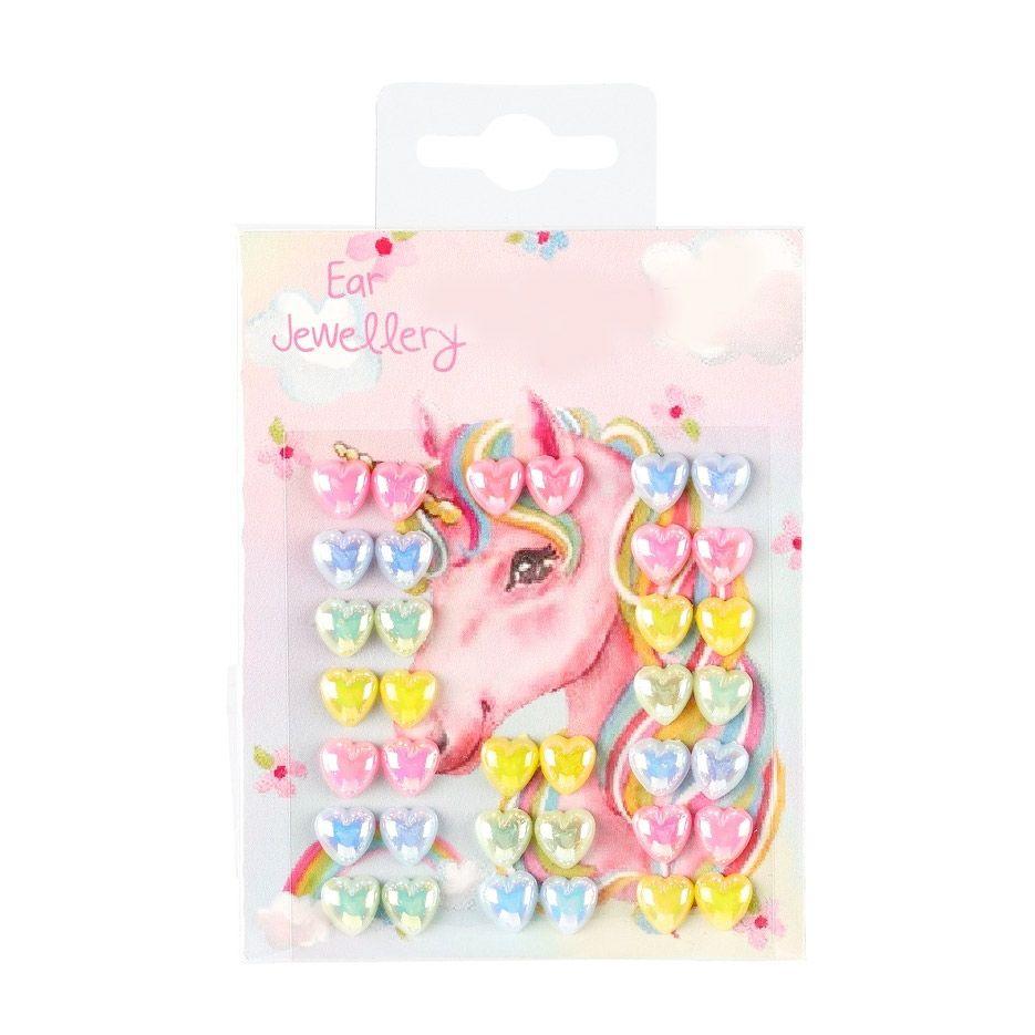 øreringe stickers med hjerter og unicorn tema