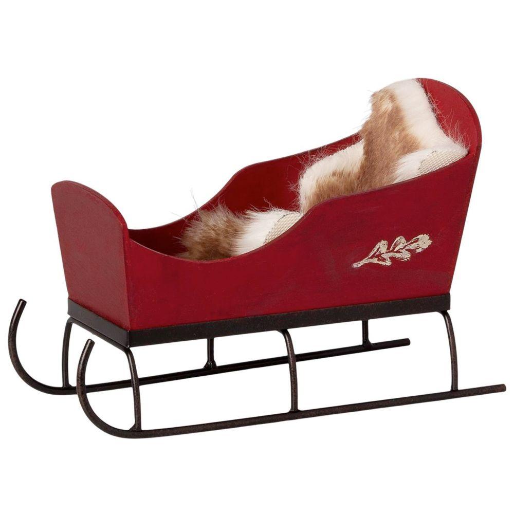 maileg mini slæde i rød, julemandens kane