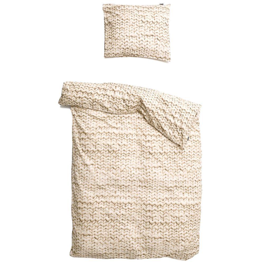 Flanel sengetøj med strik mønster fra snurk