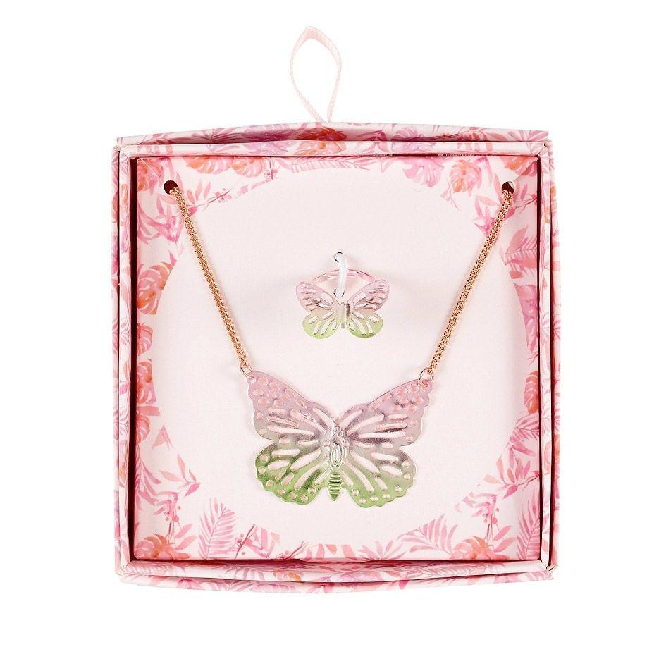 smykkesæt med sommerfugle