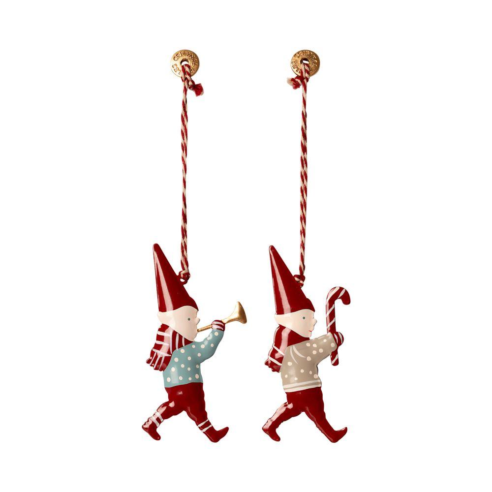 maileg ornament juleophæng i metal med nisser