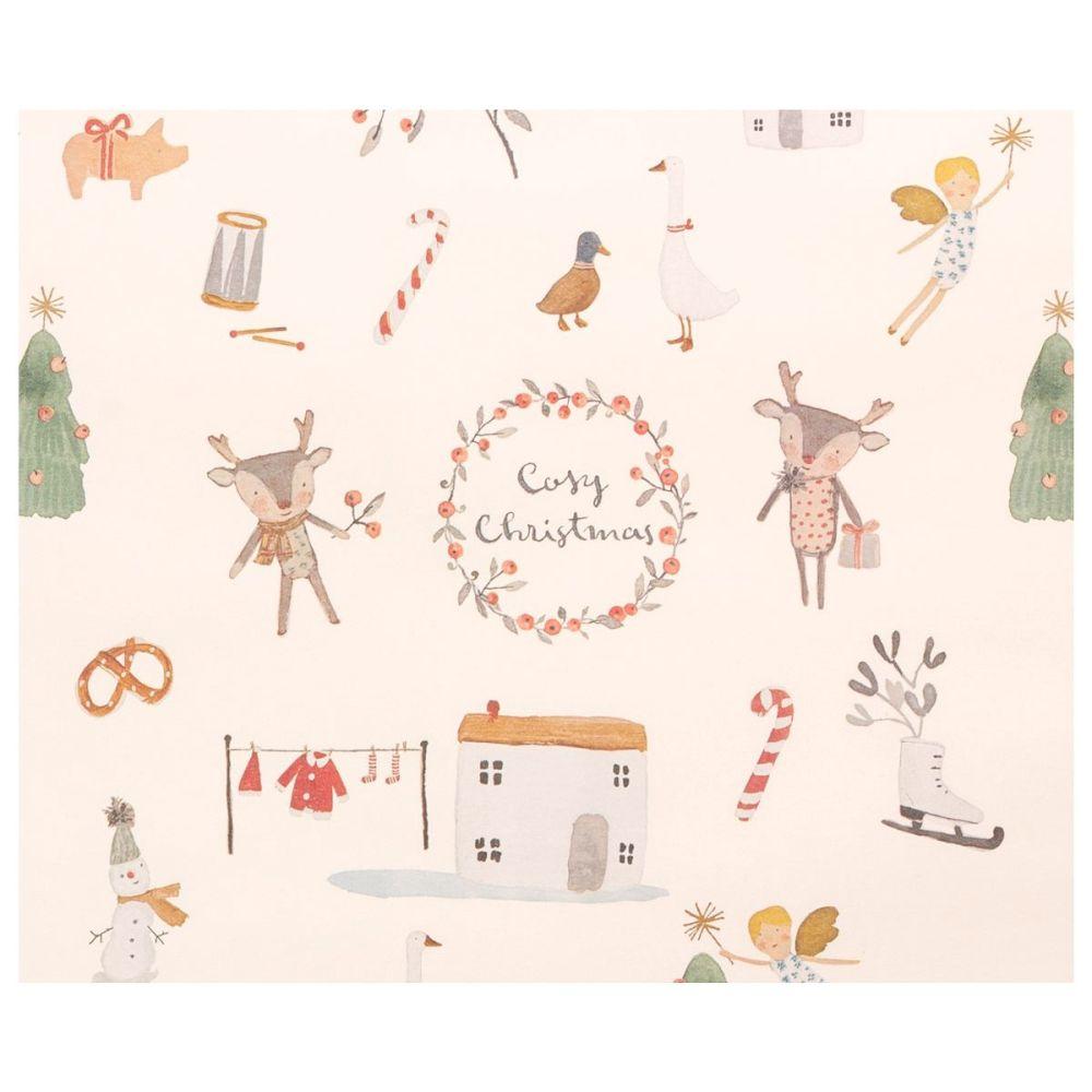 Maileg gavepapir cosy christmas off white 10 m