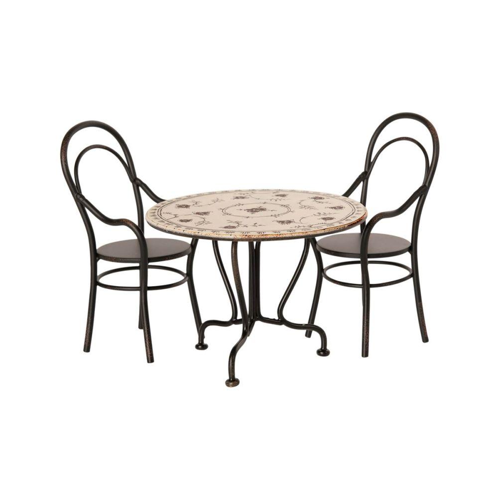 Maileg Spisebord inkl. 2 stole Musselmalet