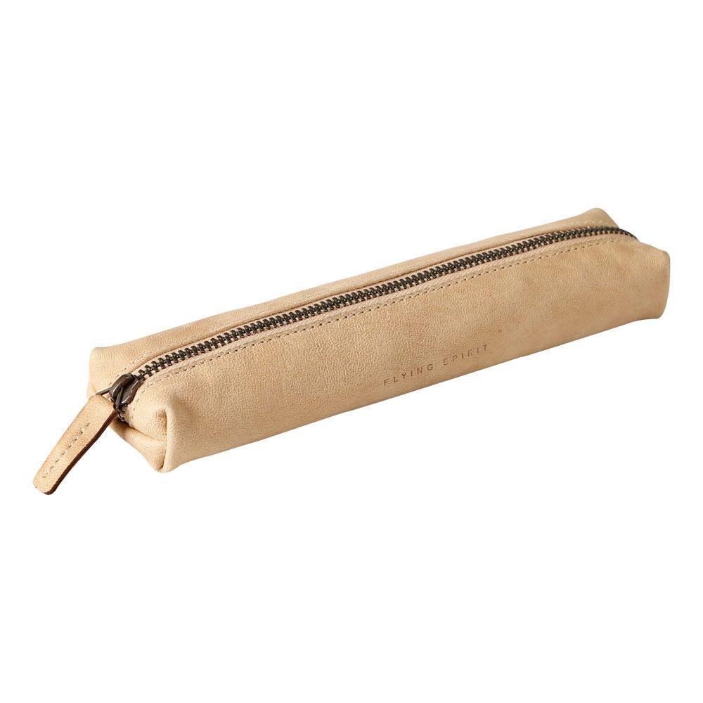 Penalhus i læder lille beige