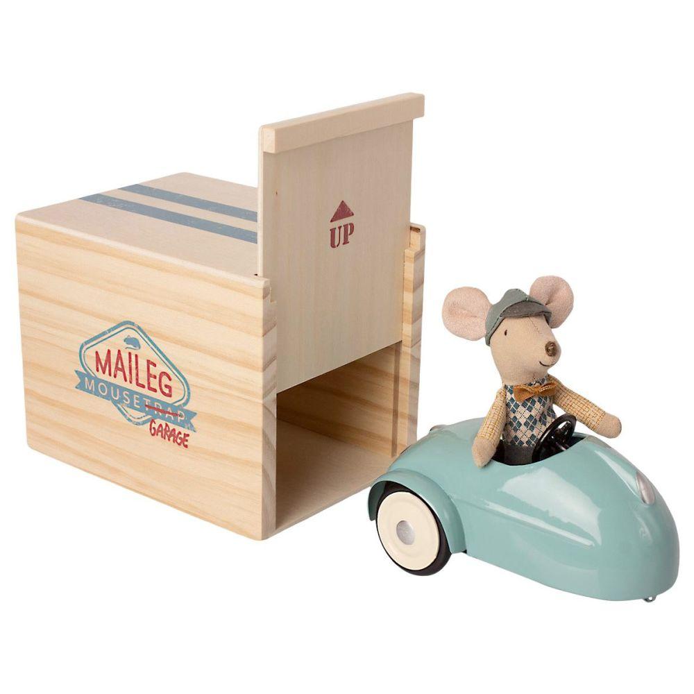 Maileg Mus med bil og garage