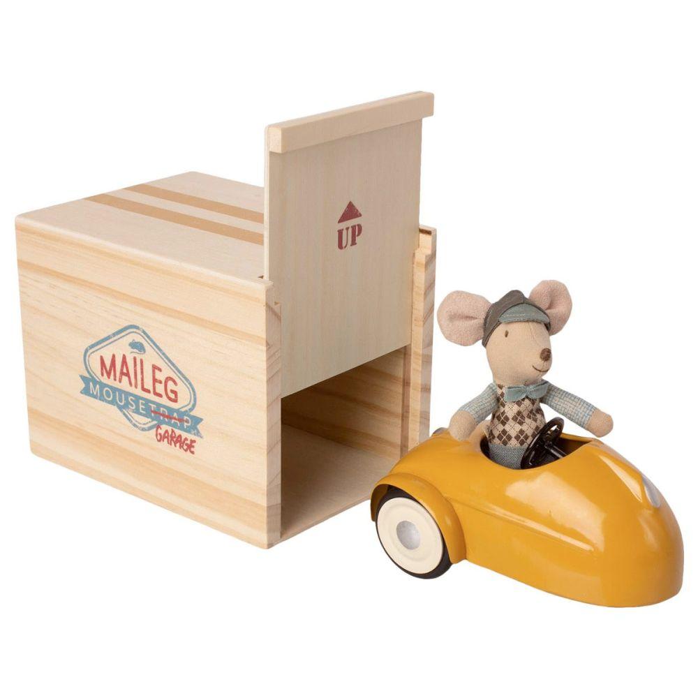 Maileg Mus med gul bil og garage