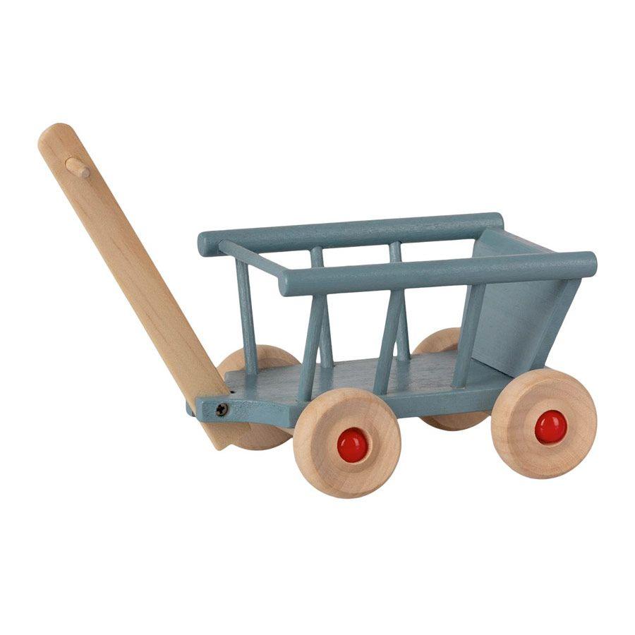 Maileg Mini trækvogn i træ blue