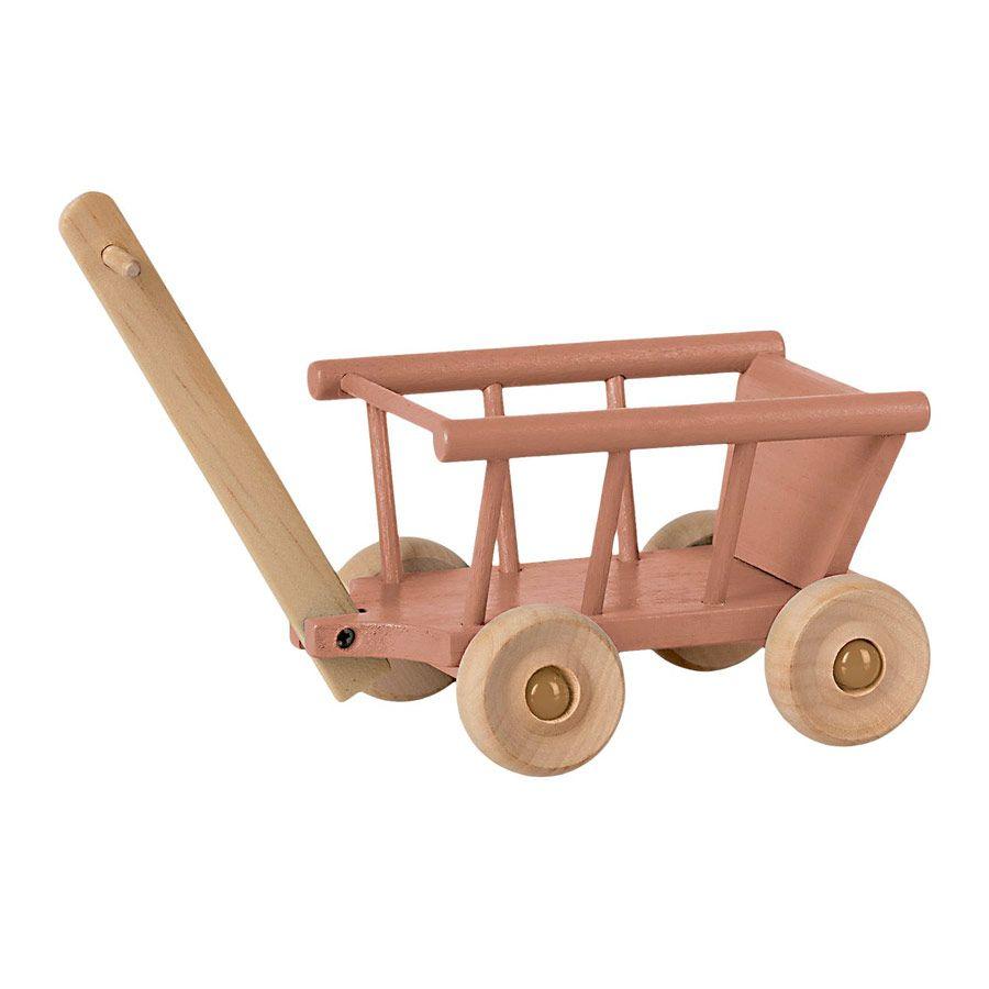 Maileg Mini trækvogn i træ rose