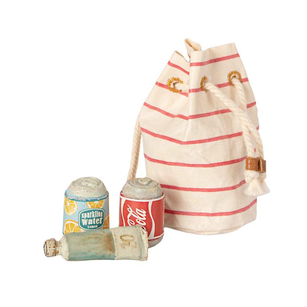Maileg Micro taske med sodavand og solcreme