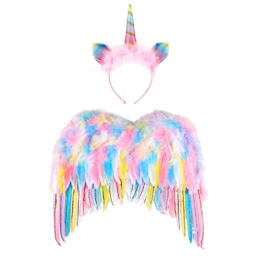 Enhjørning vinger og hårbøjle med horn