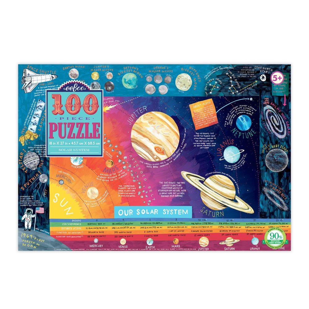 Eeboo Puslespil 100 brikker solsystemet