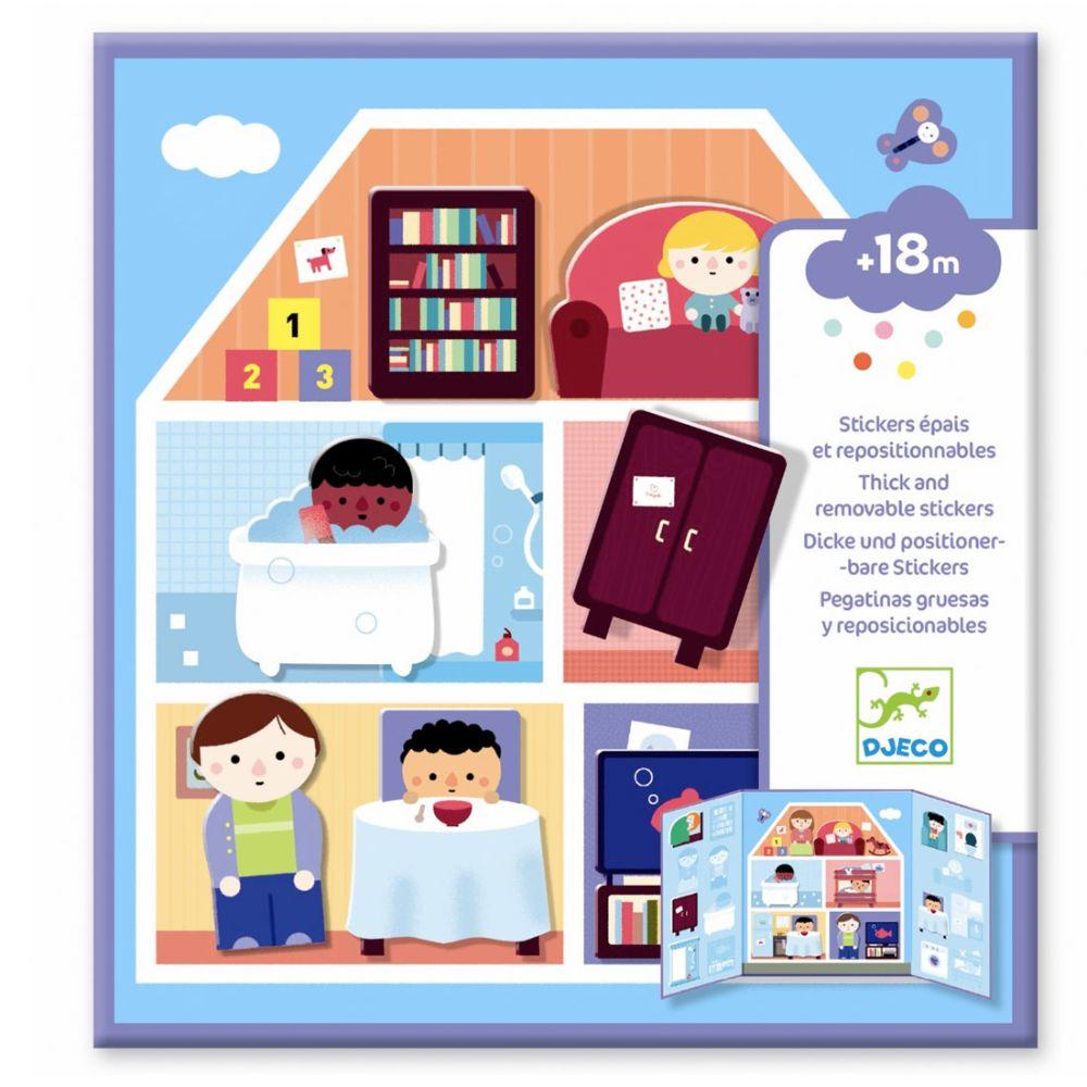 Djeco flytbare Stickers - hus