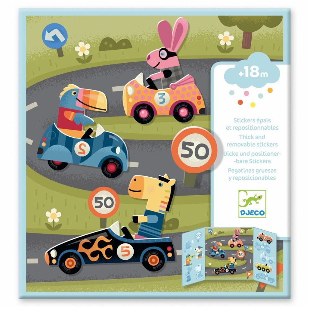 Djeco flytbare Stickers - biler