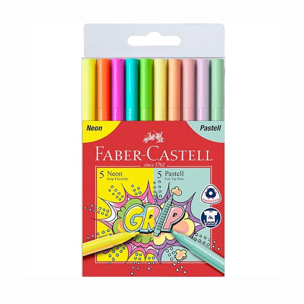 Faber-Castell Grip tusser 10 - neon og pastel