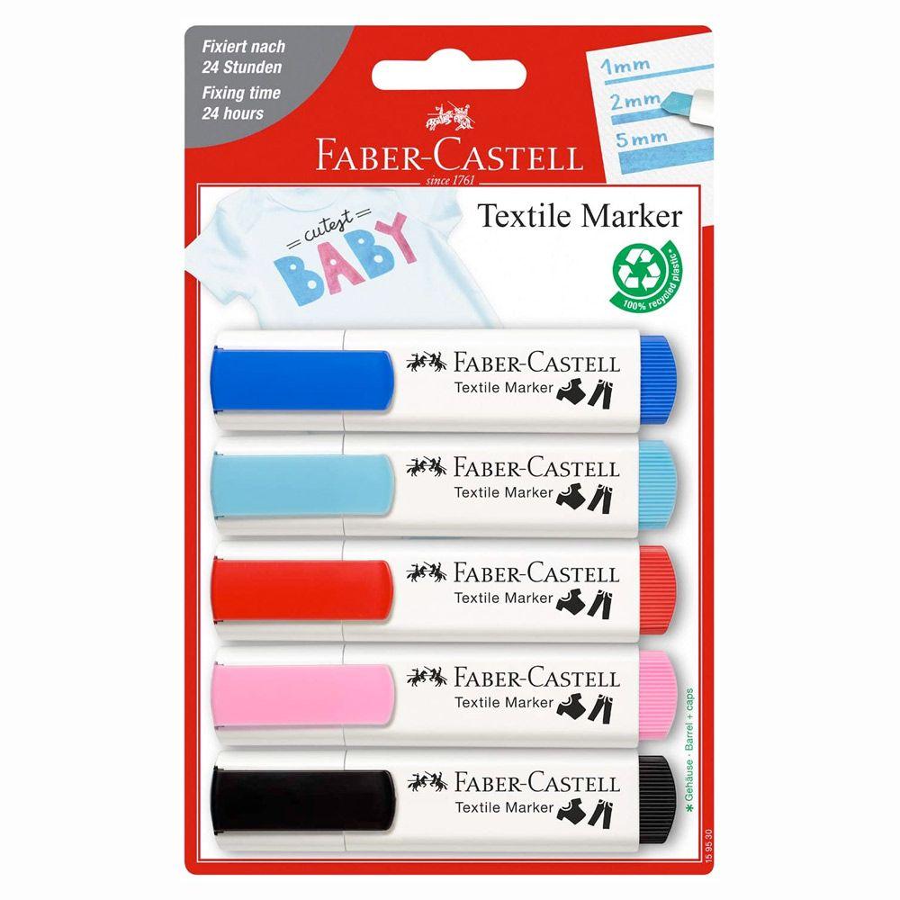 Faber-Castell Tekstil Markers 5 stk.