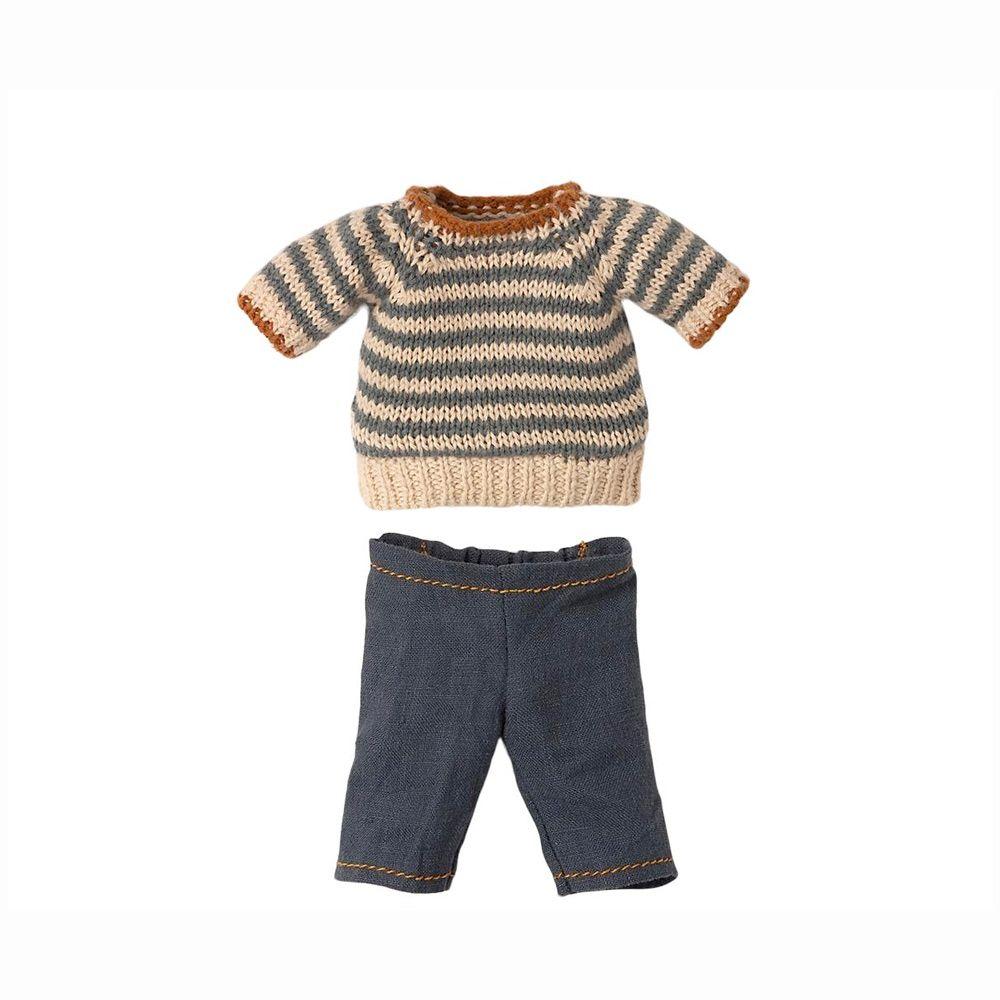 Maileg Strikket bluse og bukser til Teddy far