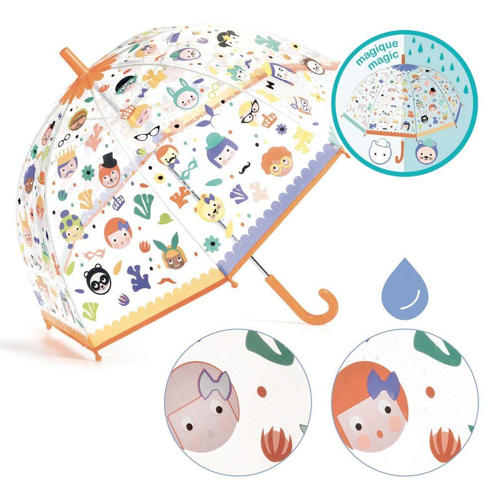 Djeco magisk Paraply Ansigter - skifter farve når den bliver våd