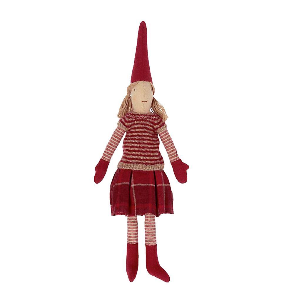 Maileg Mini nisse 2021 Pige 1  i skotskternet nederdel