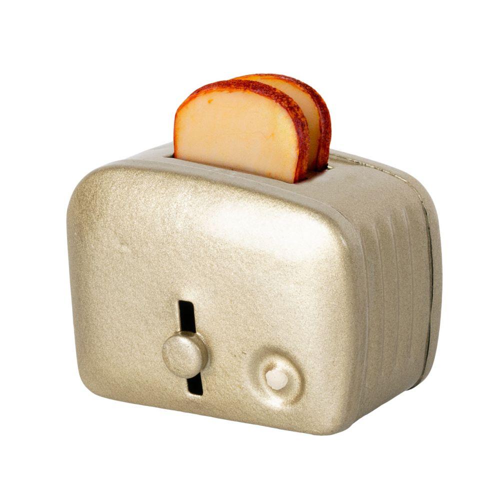 Maileg Miniature brødrister m. brød Sølv