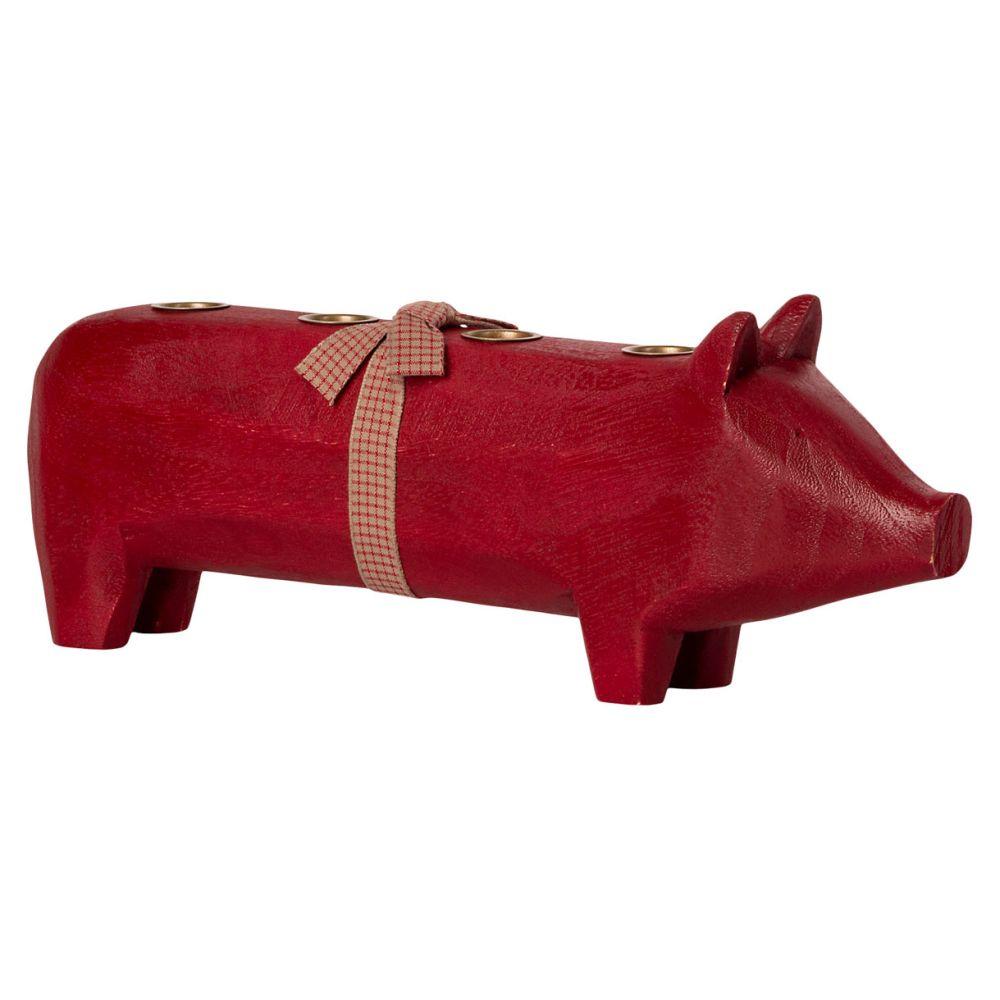 Maileg Adventstage Rød gris i træ 2021
