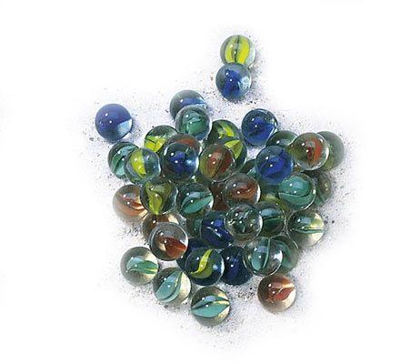 Glaskugler 50 stk. i net Olisan.dk marbles cat-eye