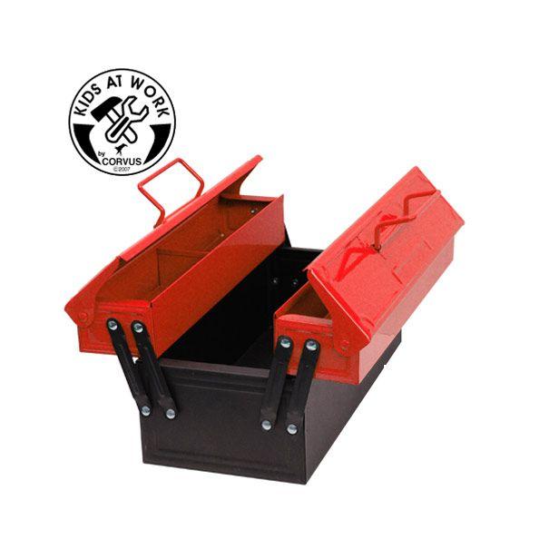 Værktøjskasse i rød metal til børn fra Corvus