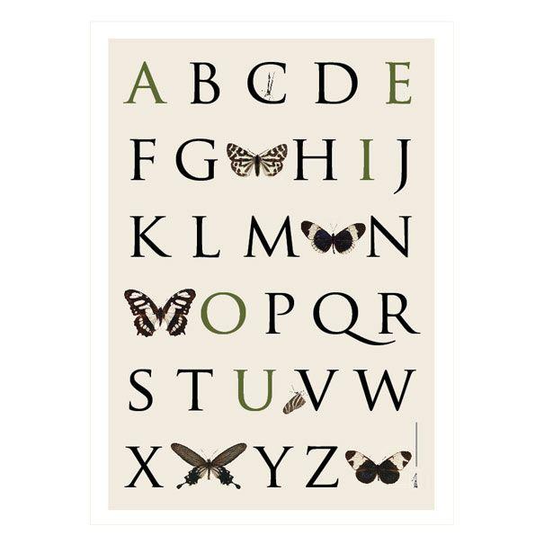 ABC plakat med sommerfugle Olisan.dk