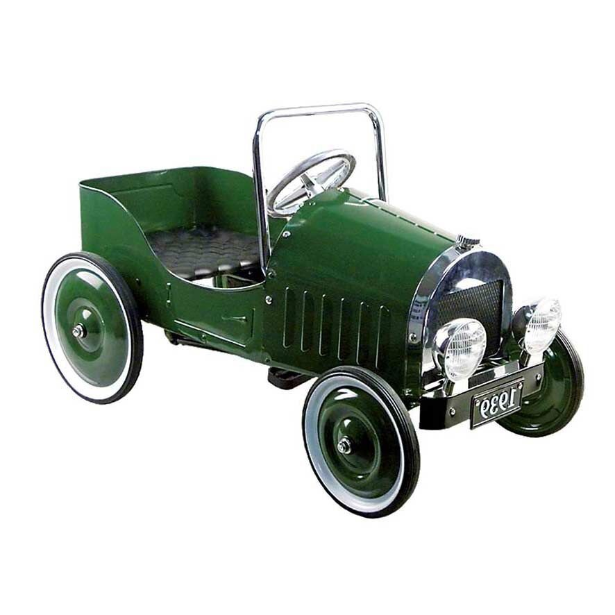 Pedalbil i grøn metal veteranbil