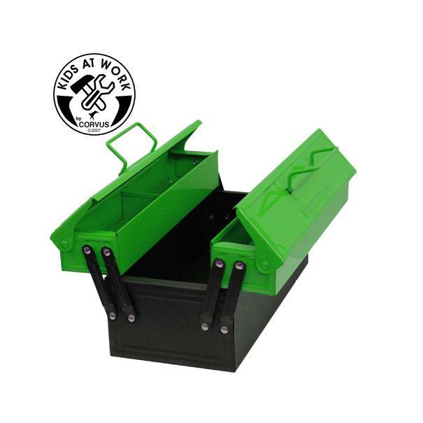 Grøn værktøjskasse i metal fra Corvus til værktøj til børn Olisan.dk