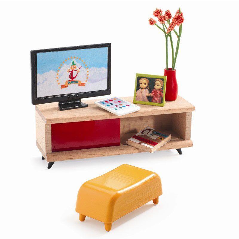 Tv møbel til dukkehus fra Djeco