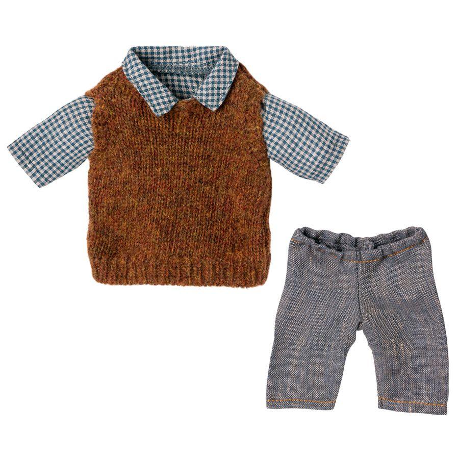 Maileg Teddy Far Skjorte, slipover og bukser
