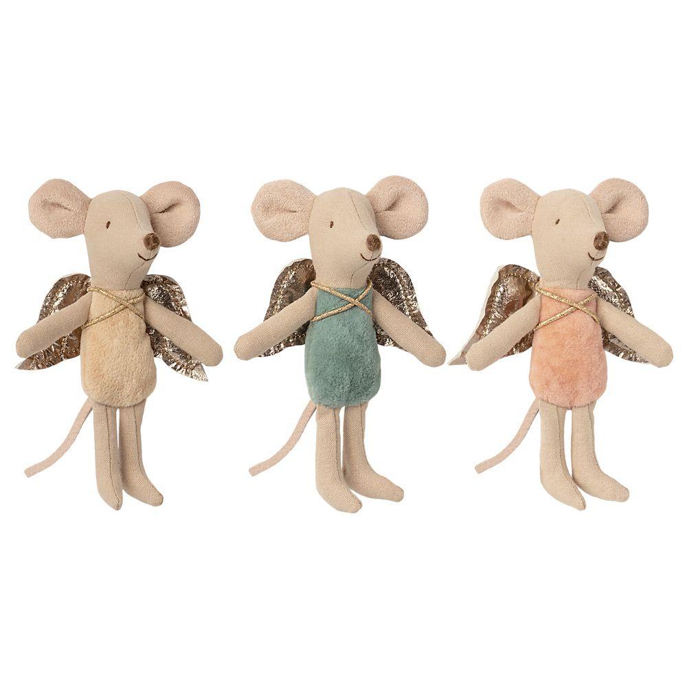 maileg engle mus med aftagelige vinger. Mini musene har englevinger i guld.