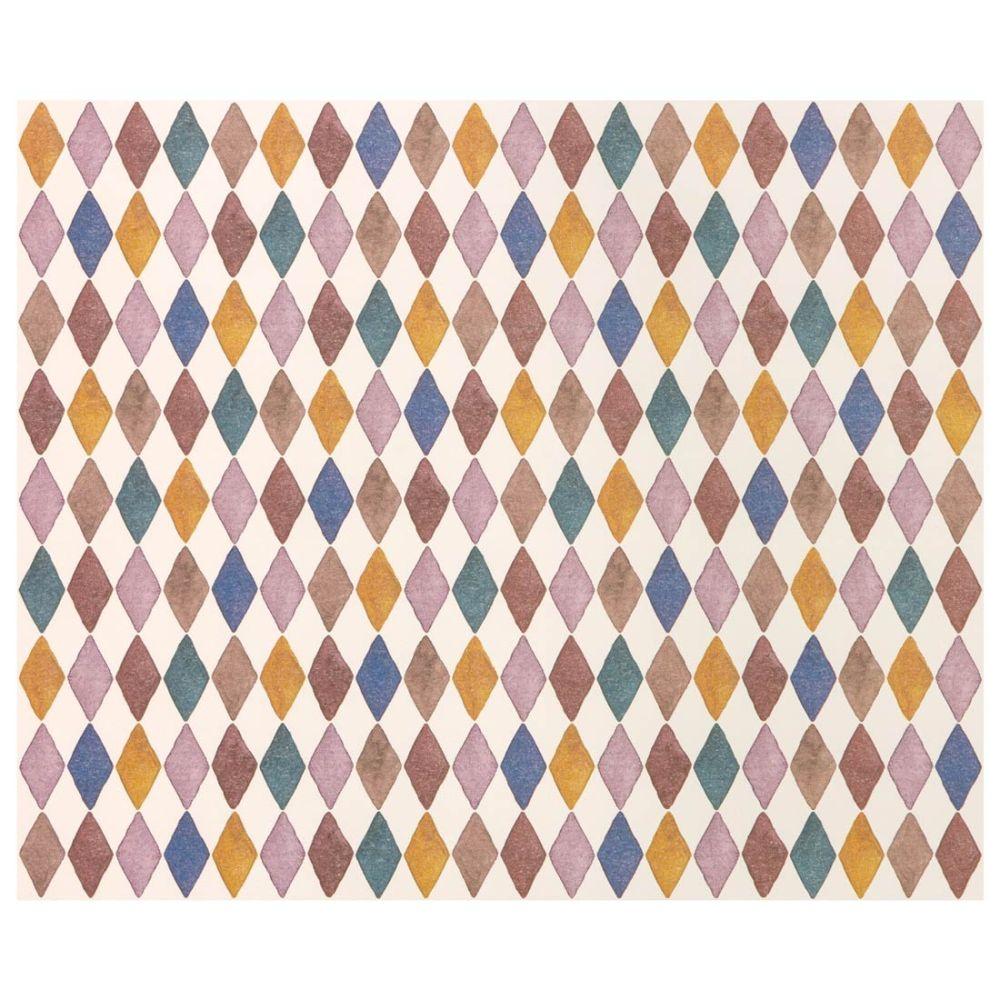 maileg gavepapir i en kraftig papirkvalitet der er fsc certificeret. Gavepapirets motiv er med harlekin mønster i blå, okker, lilla og brune nuancer
