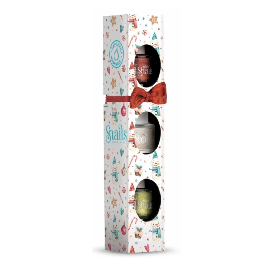 Gaveæske Jul med 3 mini Snails neglelak - neglelak til børn uden kemi. I farverne rød, sølv og lysegrøn alle med glimmer