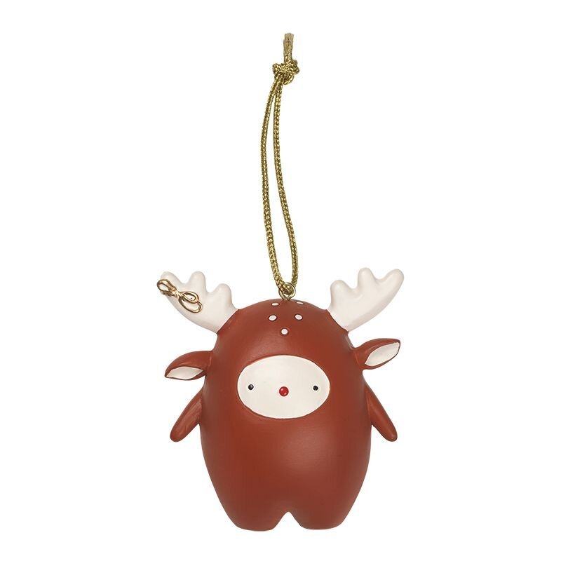 juleophæng med fabbie rensdyr fra fabelab måler højde 8 centimeter. Rustrød med hvide gevir