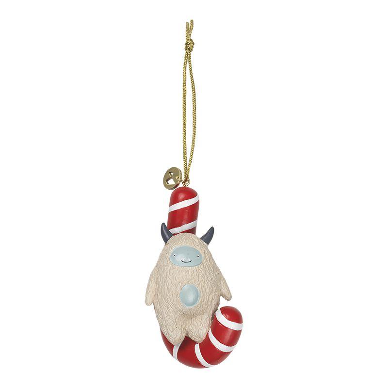 juleophæng med yeti der sidder på en sukkerstok der hænger modsat. materiale polyresin og måler højde uden snor 12 centimeter