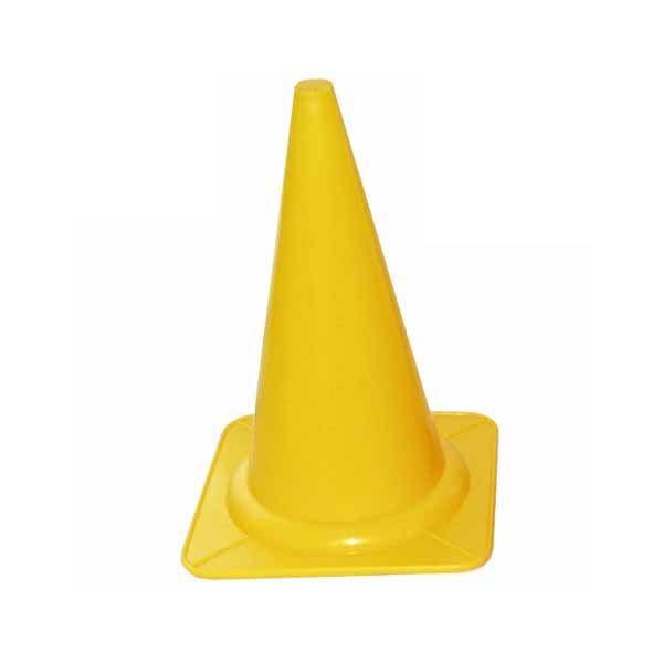 gul kegle i plast til markering måler højde 29 centimeter