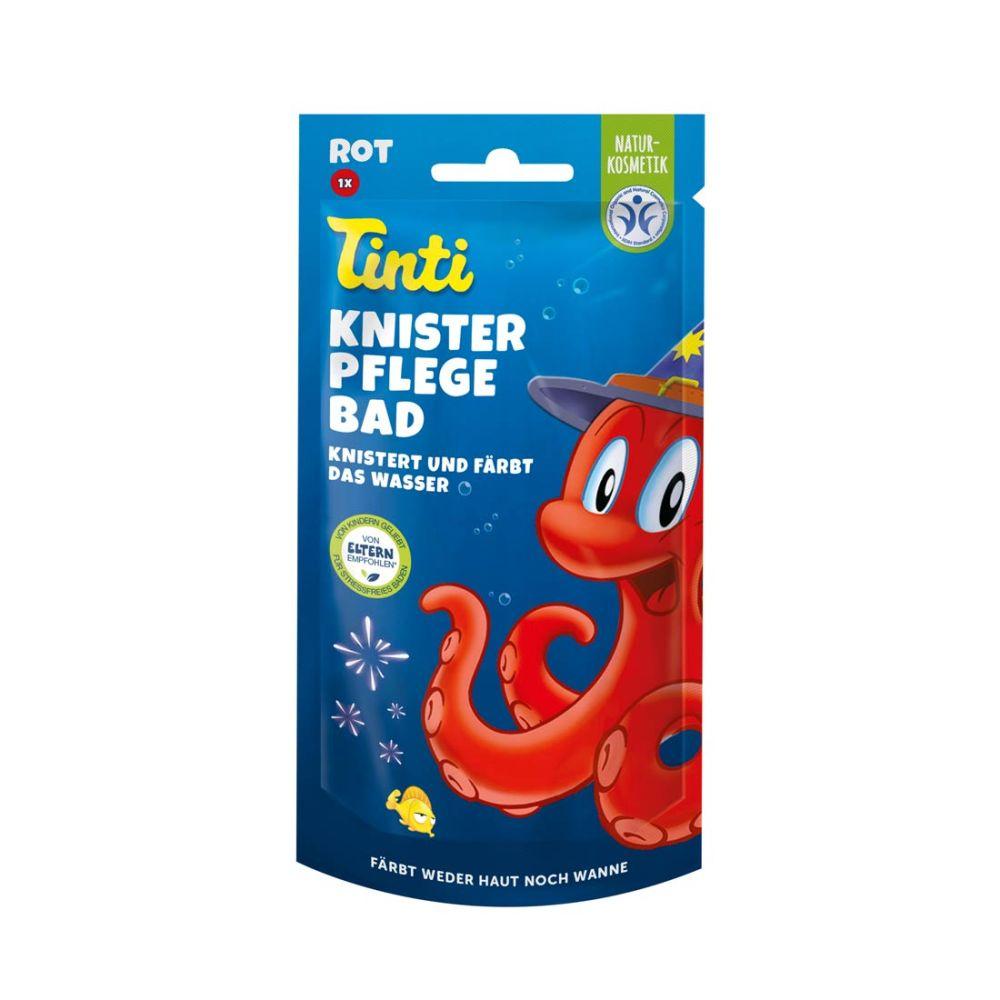 Tinti badesjov med knitrebad der også farver vandet rødt