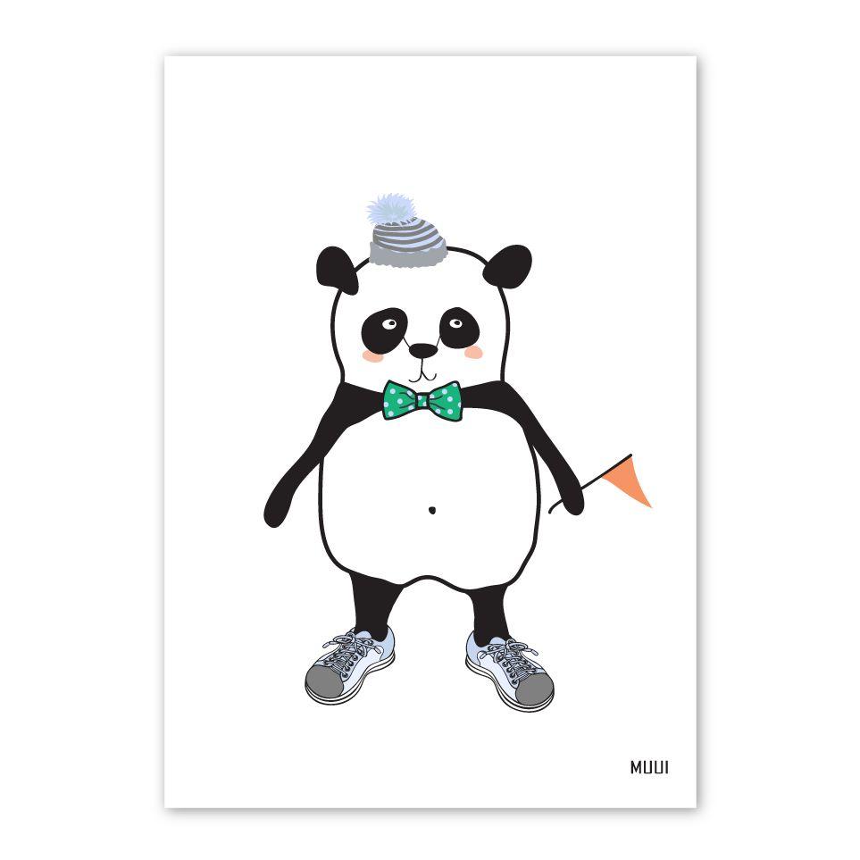 Muui platak A4  panda med vimpel