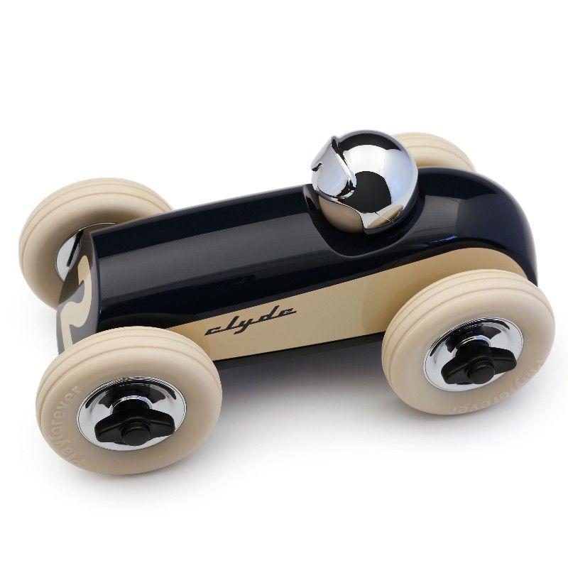 Racerbil Clyde i dyb blå og creme legetøjsbil Olisan.dk