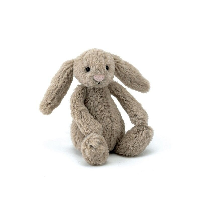 Baby kanin fra Jellycat bashful i beige 13 cm