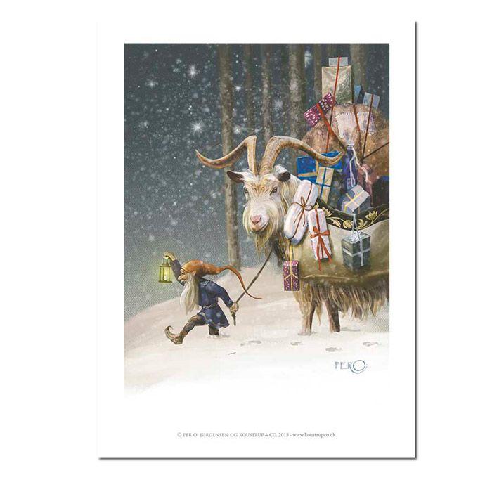 Julebuk med gaver kunsttryk A4