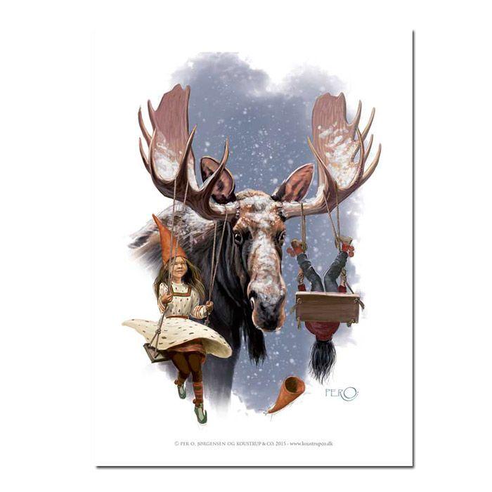 Leg med elg kunsttryk tegnet af Per O i A4