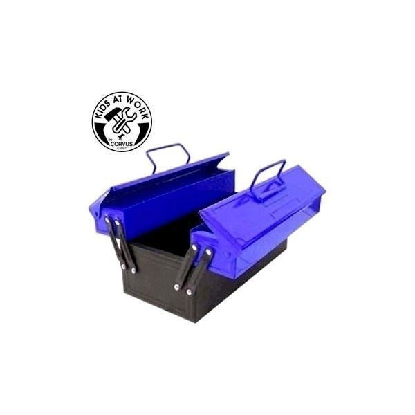 Blå værktøjskasse i metal til børn fra Corvus