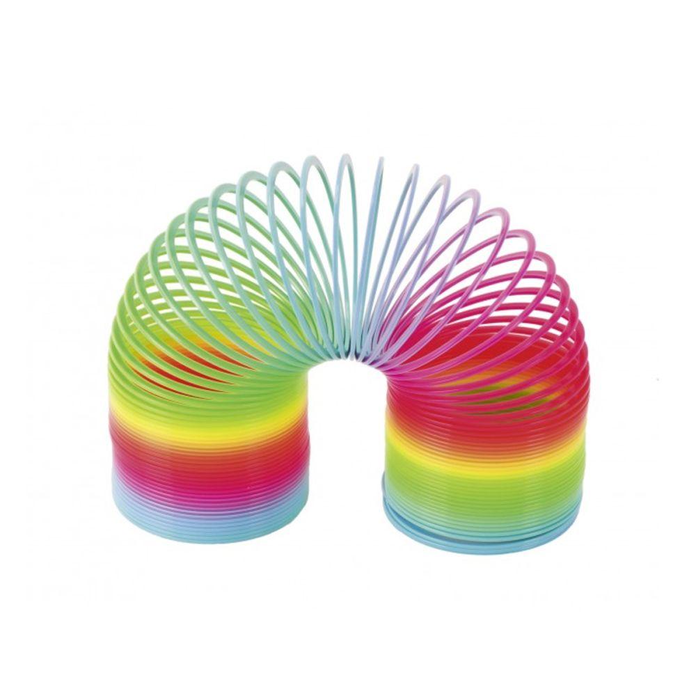 Slinky spiral til trapper i regnbuefarver.