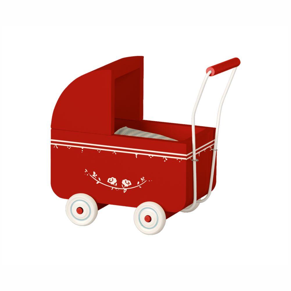 Maileg micro dukkevogn i rød