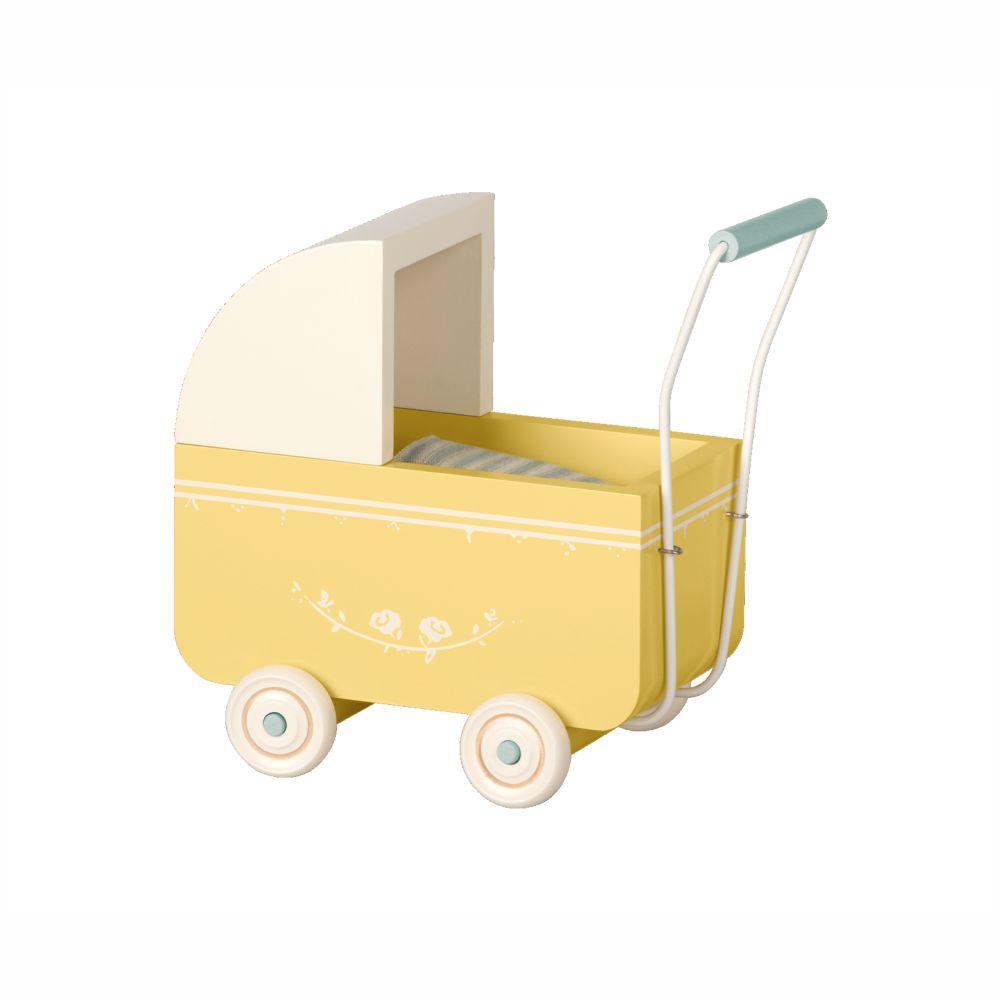 Maileg micro dukkevogn gul